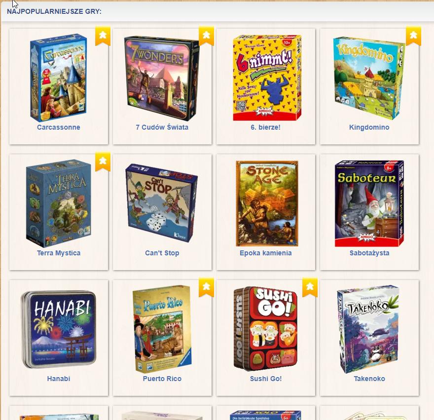 Screenshot ze strony, pokazujący kilka najpopularniejszych gier oferowanych przez portal